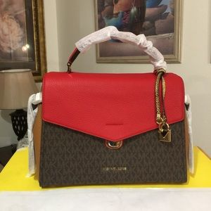 NWT $348 Michael Kors Bristol Shoulder Bag 💼-Red